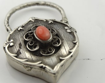 Stunning sterling silver padlock set with natural coral