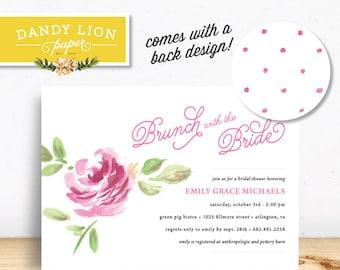 Pink Watercolor Rose Flower Bridal Shower Brunch Digital Invitation - DIY Printable