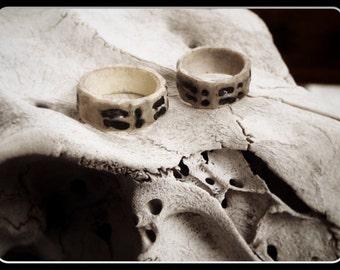 Deer Antler Wedding Bands The Wanderers. Cloven Hoof Print Carved Unisex tribal talisman rings. Handmade Natural Wedding Bands Made to order