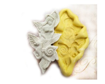mermaid mold,  silicone mold ,  Western mold  -  craft mold - food mold - push mold - soap mold - - # 56