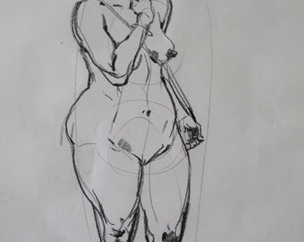 Charcoal life drawing of a woman standing with cord
