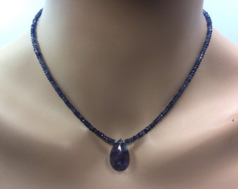 Iolite Rondelle Necklace with Iolite Briolette in Sterling Silver