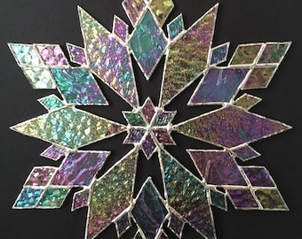stained glass snowflake suncatcher (design 21)