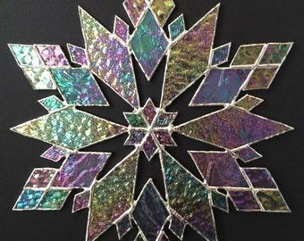 stained glass snowflake suncatcher (design 21)