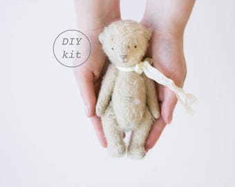 Beige Mohair Teddy Bear 7 Inches DIY Kit, Stuffed Animals Sewing Kit, Soft Toys Craft Kit, Artist Teddy Bear, Crafter Gift, Ready To Ship