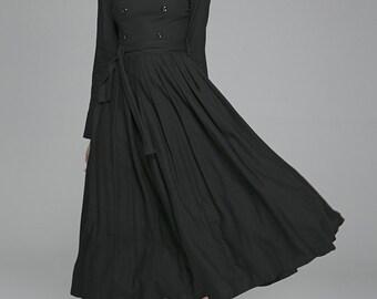 Black dress, linen dress, fall dress, long sleeves dress, tie belt dress, fitted dress, day dress, womens dress with button details (1405)