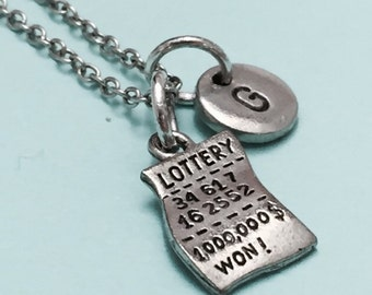 Lottery ticket necklace, lottery ticket charm, lottery necklace, personalized necklace, initial necklace, initial charm, monogram