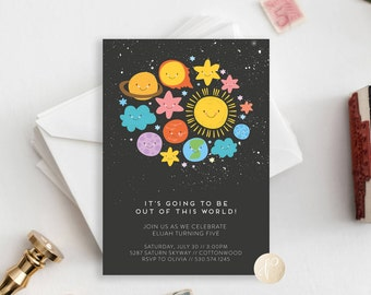 Printable Kid's Birthday Party Invitation || Space Theme, Solar System, Sun, Moon, Planets, Child's Birthday
