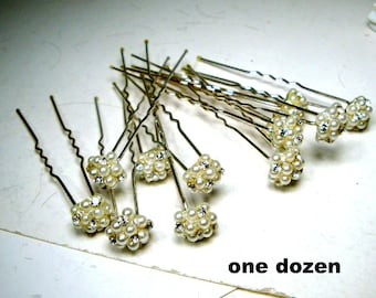 CHEAP ...12 Bridal Hairpins, Rhinestones and Pearls, One Dozen Never Used Destash Samples, Wedding  Hair Pins,  Hair Jewelry, 1990s