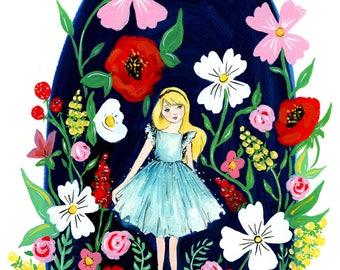 Among The Wildflowers Gouache Illustration PRINT