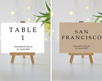 A5/A6 Personalised Wedding/Party/Dinner Table Name / Number Cards (001)