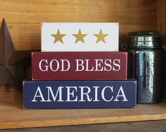 Patriotic God Bless America Stacking Blocks Shelf Sitter Americana Handcrafted