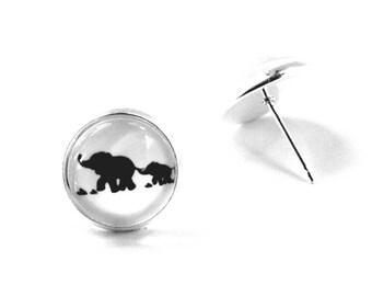 Elephant Earrings, Elephant Jewelry, Baby Elephant Earrings, Baby Elephant Jewelry, Elephant Earring Studs, Glass Elephant Earrings