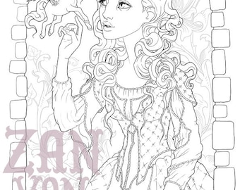 Printable Coloring Page | Colouring For Adults | Princess Line Art | Zan Von Zed