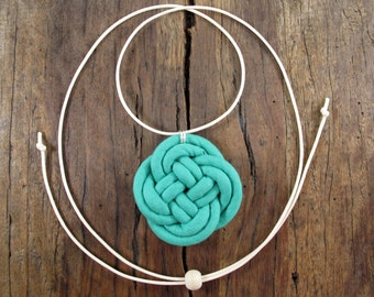 Infinity knot necklace, Unique, Handmade, Fabric cord, Knot necklace, Adjustable, Cotton cord, Fabric jewelry, Turquoise green, wooden bead