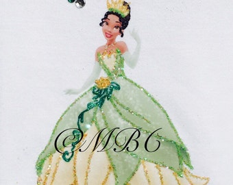 Disney Princess Tiana. Fabric painted & glittered shirt. Can be personalized.