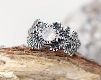 Pine Ring with Rainbow Moonstone, Nature Jewelry, Gemstone, Twigs, Branches, Forest