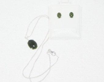 Jade Necklace -Jade Earrings - Necklace Earrings Set - Pendant & Studs Set - Jewelry Sets
