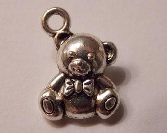 Cute Teddy bear silver charm