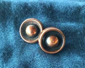 Copper button clip on earrings