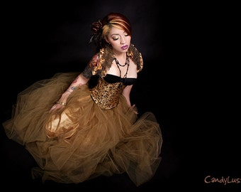 SteamPunk Antique Gold Floor Length Tulle Skirt Adult All Sizes MTcoffinz