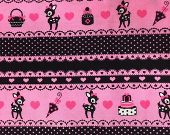 """Oh Deer BLACK 100% Cotton ~ 42"""" Wide ~ Sold by the Yard"""