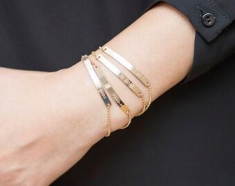 Engraved Bracelet,Personalized Bracelet,Inspirational Bracelet,Gold Bar Bracelet, Custom name Bracelet,Initial Bracelet,Monogram Bracelet