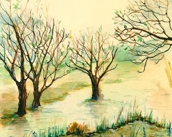Nature Art - ORIGINAL watercolor painting - beavers painting - River art - watercolor landscape painting - River Painting - 8 x 10
