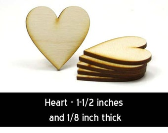 Unfinished Wood Heart - 1-1/2 tall by 1-1/2 wide and 1/8 inch thick (HART54)