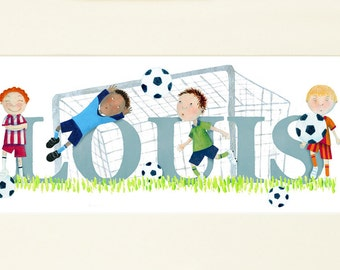 FOOTBALL - Children's / kid's / baby's illustrated name art picture, unframed print  (can be personalised to a favourite team)