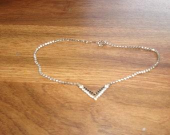 vintage necklace choker black white rhinestones