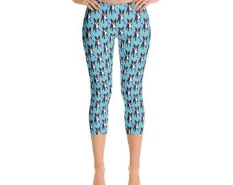 Boston Terrier Capris - Women's Capri Leggings - Capri Pants - Boston Terrier - Leggings - Dog leggings - Women's Leggings - fun pants -