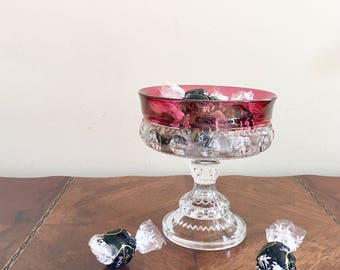 "Footed Compote Bowl Tiffin Glass Candy Dish Ruby Flash Cranberry Glass ""King's Crown"" Pattern Bon-Bon Dish Hollywood Regency Mid Century"