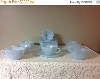 Summer Sale Blue Fireking Tea / Coffee Cups and Saucer Plates and Creamer Azurite Fireking Cups and Saucer Plates Ice Blue Tea Cups and Sauc