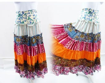 Vintage 70s Skirt size M Tribal Hippie Boho Cotton Patchwork ruffle festival Vtg