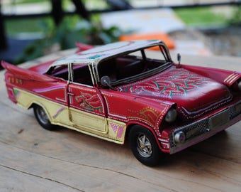 Vintage Metal Sculpture Based on 1957 Chevy BelAir, Car Collectible, Hand-painted Vintage Car Decor, Father's Day Gift