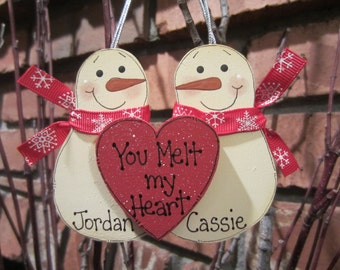Snowmen Couple Personalized Ornament, Mr. and Mrs. Ornament, Boyfriend Ornament, Couple Ornament, Personalized Couple, You Melt my Heart