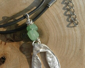 Silver, sycamore, pendant, necklace, leather, helicopter seed, aventurine, gift