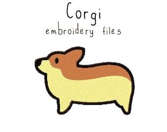 Corgi EMBROIDERY MACHINE FILES pattern design hus jef pes dst all formats welsh dog puppy Instant Download digital applique cute