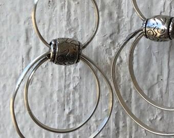 Sterling Silver Hoop Earrings - 3 hoops each