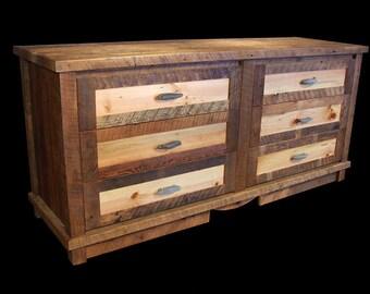 Reclaimed wood 6 drawer dresser