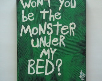 Monster Under My Bed Folk Art Word Painting
