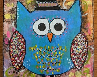 Owl Original Acrylic Painting Blue Owls 6x6-Canvas-Home Decor-Gift-Baby Shower Gift-Spring-Cottage-Owls-Whimsical-Mixed Media