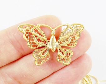 2 Butterfly Charm Connectors - 22k Matte Gold Plated