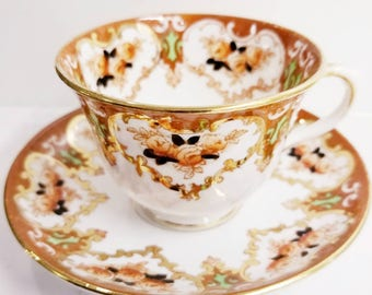 ROYAL ALBERT/Crown China/Imari Style/Tea Cup and Saucer/1925 to 1927/Gold Trim with Burnt Orange