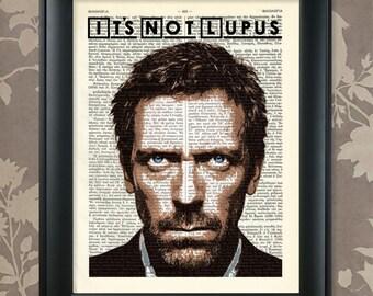 Hugh Laurie, It's Not Lupus, Dr House art, Dr House poster, Dr House print, House MD Print, House MD Art, House MD Wall Art, House Md Poster