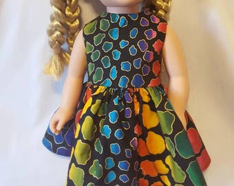 "Rainbow animal print doll dress made to fit American Girl dolls and other similar 18"" inch dolls"