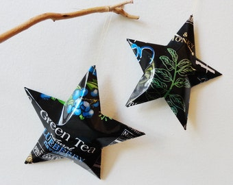 Xing Green Tea Blueberry, Pomegranate, or Gensing Stars, Christmas  Ornaments, Soda Can, Upcycled Aluminum