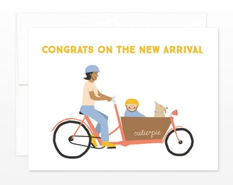 New Baby Cargo Bike Mom Card - Congrats on The New Arrival - Modern Cute Baby Bike Card