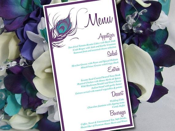peacock wedding menu template entree card printable